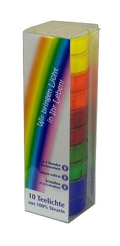 Teelichte in farbigen Kunststoffhülsen (regenbogen)