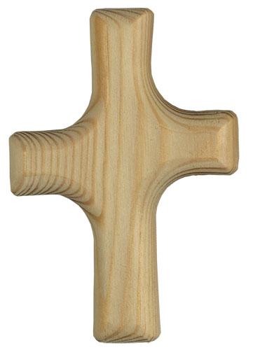 Asymetrisch gestaltetes Kreuz aus weichem Fichtenholz zum Tasten, Streicheln, Wohlfühlen.