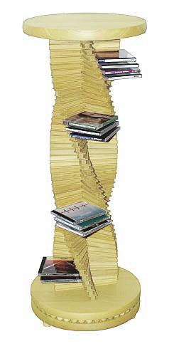 Edles Design in Holz.  Großer spiralförmiger CD-Ständer aus massivem Ahornholz. Ein Schmuckstück für jede Wohnung. Der holzkugelgelagerte Sockel ermöglicht ein leichtgängiges Drehen der CD-Säule.