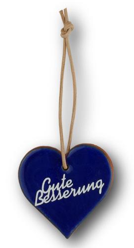 """Wünschen Sie doch mal mit diesem blau glasiertem Tonherz einem kranken Menschen """"Gute Besserung"""". Eine nette, kleine Geschenkidee."""