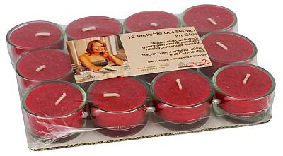 12 rote Teelichte aus Stearin in Glas