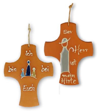 Wunderschön gefertigtes Tonkreuz mit permuttfarbenem glasierten Vers