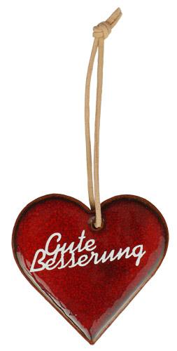 Wünschen Sie mit diesem rot glasiertem Tonherz baldige Genesung. Eine nette, kleine Geschenkidee.