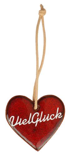 Wünschen Sie mit diesem rot glasiertem Tonherz einem lieben Menschen, viel Glück. Eine nette, kleine Geschenkidee.