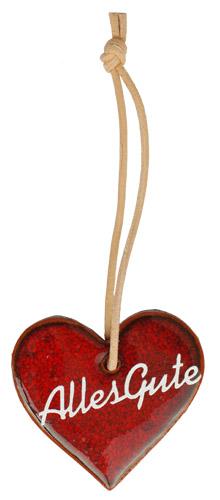 Wünschen Sie mit diesem rot glasiertem Tonherz einem lieben Menschen alles Gute. Eine nette, kleine Geschenkidee.