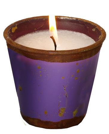 Kerze im patinierten Glas
