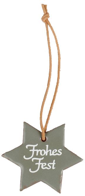 """Grau glasierter Stern aus Ton mit Schriftzug """"Frohes Fest""""  für vielfältige Dekorationsmöglichkeiten."""