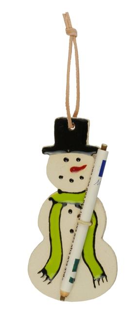 Süßer Schneemann-Anhänger, an dem man einen Geldschein oder Spruch befestigen kann.