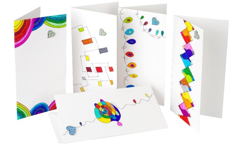 Handgemalte Grußkarten in leuchtenden Farben. Jedes Stück ist ein Unikat.