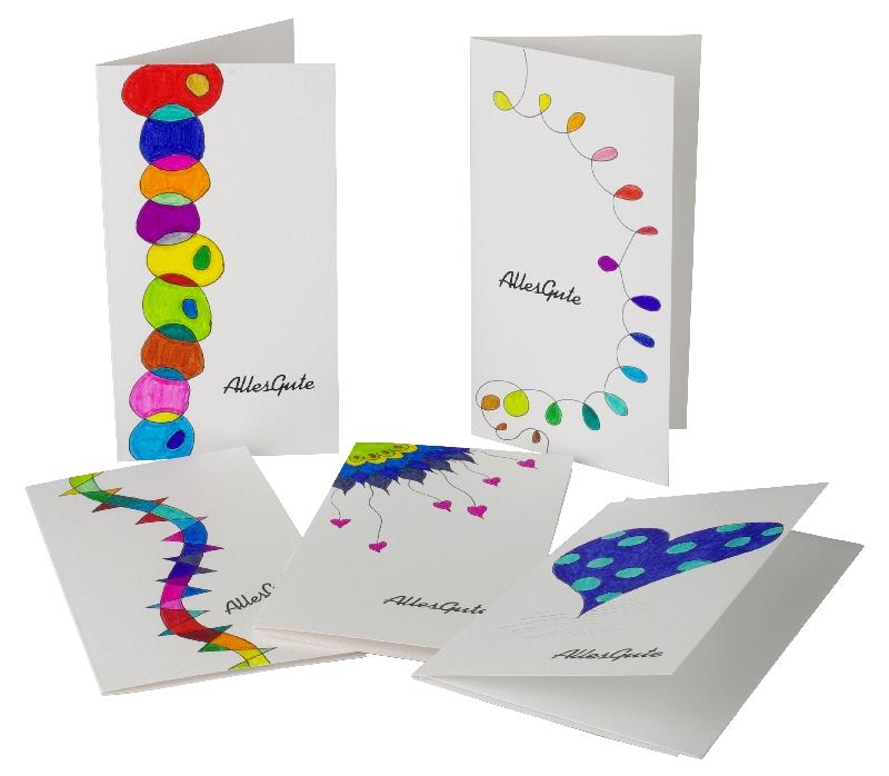 Handgemalte Grußkarten in leuchtenden Farben mit Spruch: Alles Gute. Jedes Stück ist ein Unikat.
