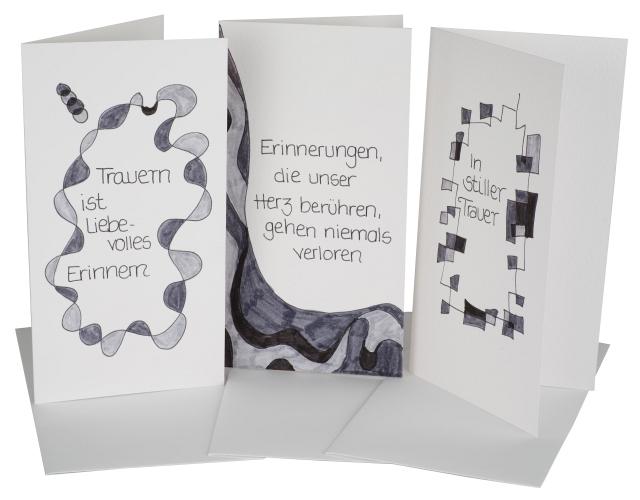 Handgemalte Grußkarten in leuchtenden Farben mit Schmuckaufleber. Jedes Stück ist ein Unikat.