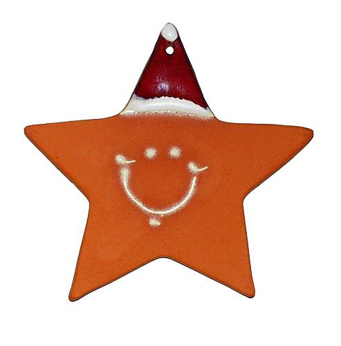 Ein Nikolaus in Sternform, handgetöpfert und glasiert. Auch eine nette Mitbringidee für Freunde.