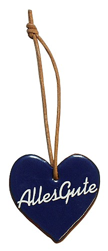 """Wünschen Sie doch mal mit diesem blau glasiertem Tonherz einem lieben Freund """"Alles Gute"""". Eine nette, kleine Geschenkidee."""