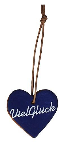 """Wünschen Sie doch mal mit diesem blau glasiertem Tonherz einem lieben Freund """"Viel Glück"""". Eine nette, kleine Geschenkidee."""